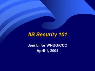 IIS Security 101