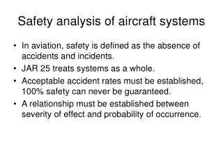 Safety analysis of aircraft systems