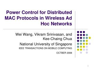 Power Control for Distributed MAC Protocols in Wireless Ad Hoc Networks