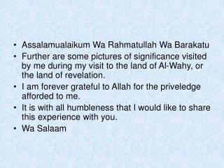 Assalamualaikum Wa Rahmatullah Wa Barakatu