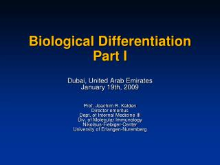 Biological Differentiation Part I
