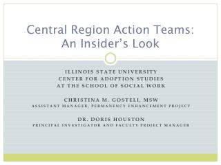 Central Region Action Teams: An Insider's Look