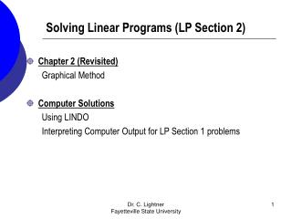 Solving Linear Programs (LP Section 2)