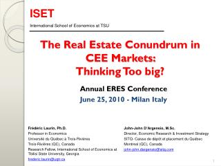 The Real Estate Conundrum in CEE Markets:  Thinking Too big?