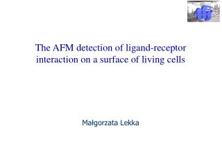 The AFM detection of ligand-receptor interaction on a  surface  of living cells Małgorzata Lekka