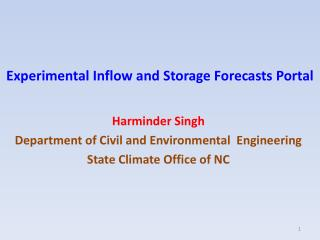 Experimental Inflow and Storage Forecasts Portal