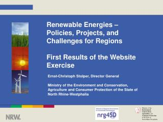Renewable Energies – Policies, Projects, and Challenges for Regions First Results of the Website Exercise