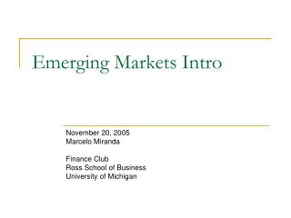 Emerging Markets Intro