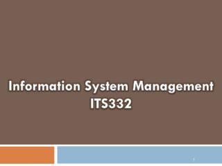 Information System Management ITS332