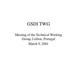 GSDI TWG
