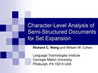 Character-Level Analysis of Semi-Structured Documents for Set Expansion