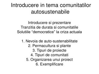 Introducere in tema comunitatilor autosustenabile