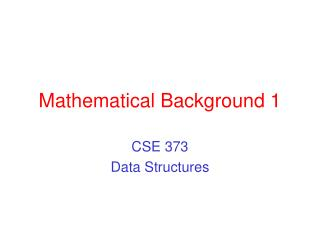Mathematical Background 1