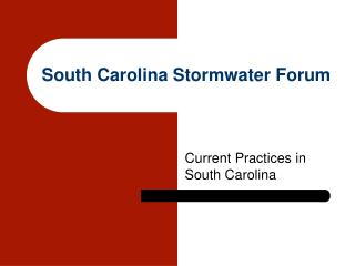 South Carolina Stormwater Forum