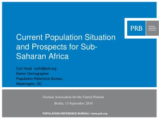 Current Population Situation and Prospects for Sub-Saharan Africa