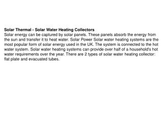 Solar Thermal - Solar Water Heating Collectors