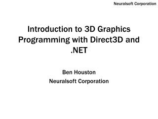 Introduction to 3D Graphics Programming with Direct3D and .NET