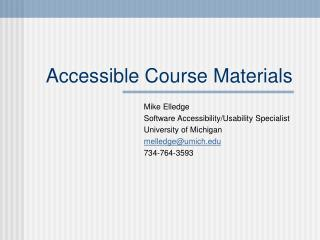 Accessible Course Materials