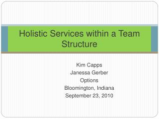 Holistic Services within a Team Structure