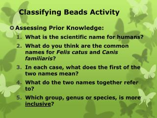 Classifying Beads Activity