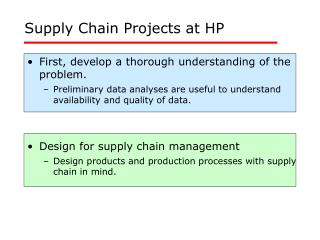 Supply Chain Projects at HP
