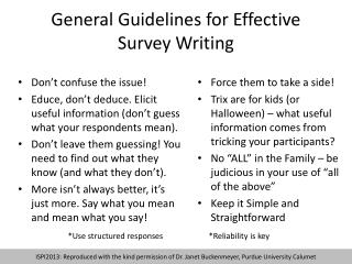 General Guidelines for Effective Survey Writing