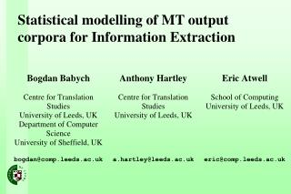 Statistical modelling of MT output corpora for Information Extraction