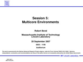 Session 5: Multicore Environments