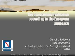 The programme evaluation according to the European approach