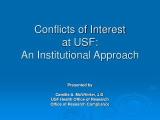 Conflicts of Interest  at USF: An Institutional Approach