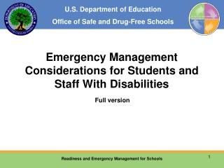 Emergency Management Considerations for Students and Staff With Disabilities