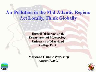 Air Pollution in the Mid-Atlantic Region:  Act Locally, Think Globally