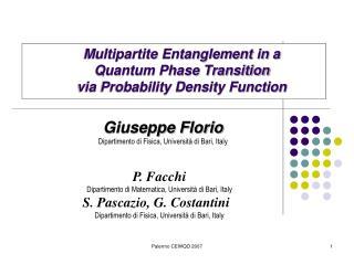 Giuseppe Florio Dipartimento di Fisica, Università di Bari, Italy
