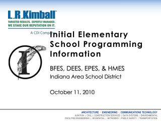 Initial Elementary School Programming Information