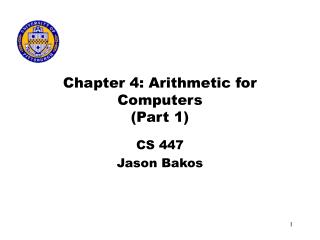 Chapter 4: Arithmetic for Computers (Part 1)