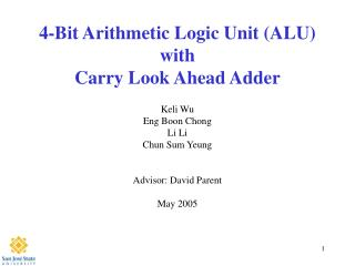 4-Bit Arithmetic Logic Unit (ALU) with Carry Look Ahead Adder