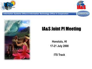 IA&S Joint PI Meeting