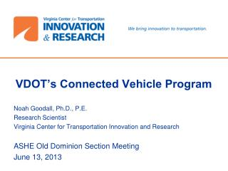 VDOT's Connected Vehicle Program