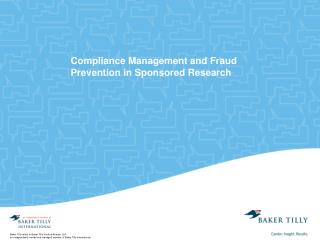 Compliance Management and Fraud Prevention in Sponsored Research