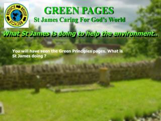 What St James is doing to help the environment..