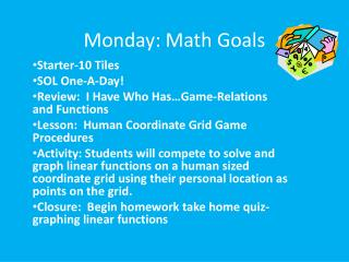 Monday: Math Goals