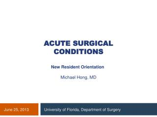 Acute surgical conditions
