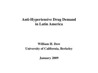 Anti-Hypertensive Drug Demand  in Latin America