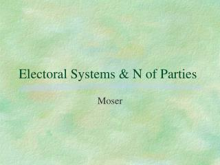 Electoral Systems & N of Parties