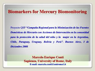 Biomarkers for  Mercury  Biomonitoring