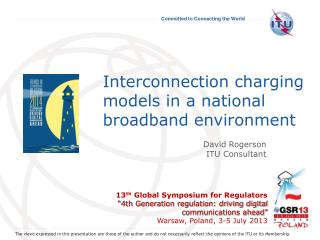 Interconnection charging models in a national broadband environment