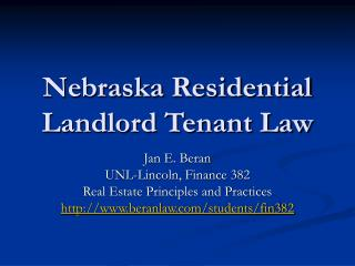 Nebraska Residential Landlord Tenant Law