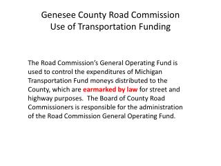 Genesee County Road Commission Use of Transportation Funding
