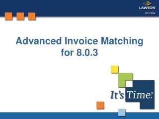 Advanced Invoice Matching for 8.0.3