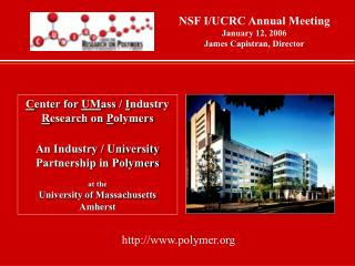 C enter for  UM ass /  I ndustry  R esearch on  P olymers An Industry / University  Partnership in Polymers at the  Univ